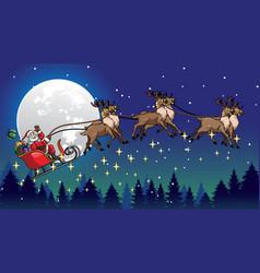 Santa ride sleigh pulled by his reindeers vector