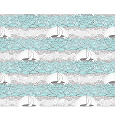 Seamless boat and sea patte vector