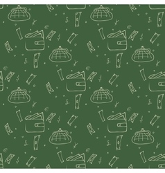 Seamless pattern with a purse and money on a green vector