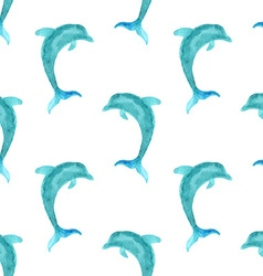 Seamless watercolour dolphin pattern vector