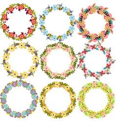 Set of beautiful floral wreaths design elements vector