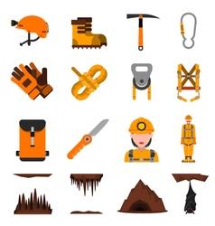 Speleology flat icons set vector