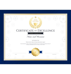 Sport theme certification of excellence template vector image vector image