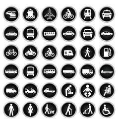 Transport and people Icon collection vector image vector image
