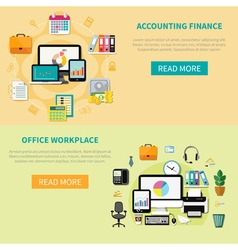 Two Horizontal Banners With Elements Of Office vector image