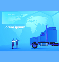 world delivery concept two business men looking at vector image vector image