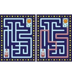 Easy rocket maze vector image