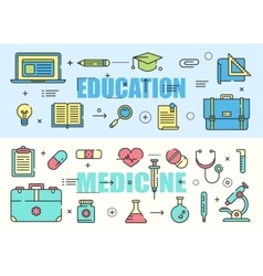 Education and medicine flat thin line design vector