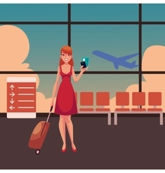 Pretty woman in red dress with suitcase ticket vector