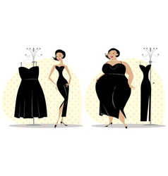 Dieting lady fitting a dress vector