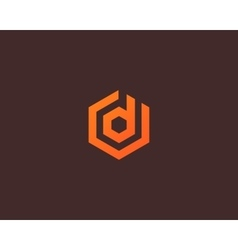 Abstract letter D logotype Line hexagon vector image