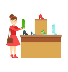 Women shopping for shoes in a shoes store vector