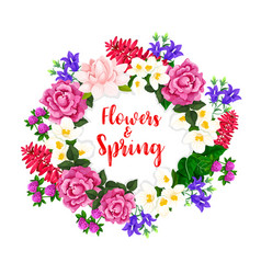Spring flowers wreath of blooming bouquets vector