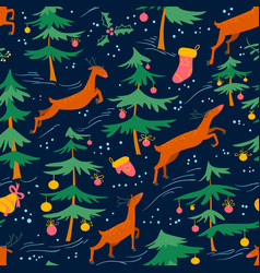 chirstmas seamless pattern with cute deers and vector image