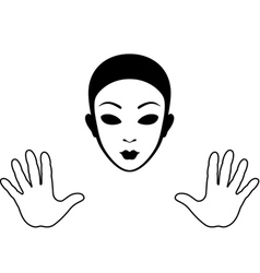 Mime mask and hands silhouette vector