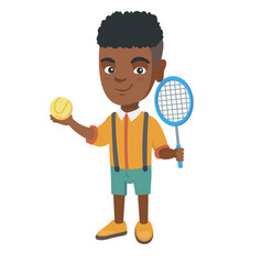 african tennis player holding racket and ball vector image