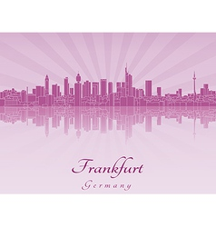 Frankfurt skyline in purple radiant orchid vector