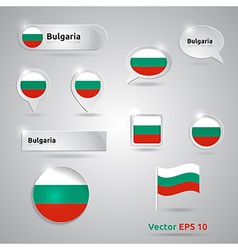 Bulgaria icon set of flags vector