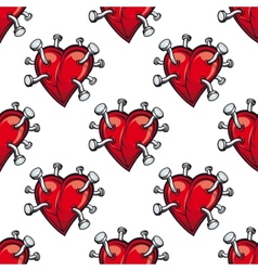 Seamless pattern with hearts and hammered nails vector