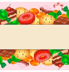 Background with colorful various candy sweets and vector
