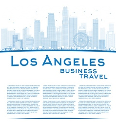 Outline los angeles skyline vector