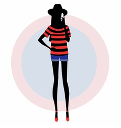 Silhouette of a girl with a mobile phone vector