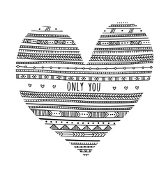 Only you ethnic pattern heart card vector