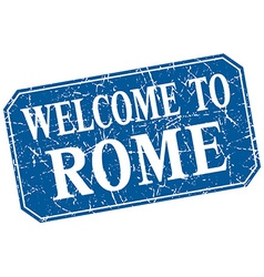 Welcome to rome blue square grunge stamp vector