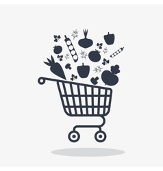 shopping carts icon with vegetables vector image
