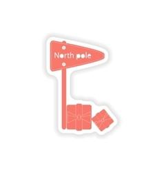Paper sticker on white background pointer north vector