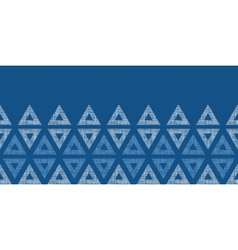 Abstract textile blue triangles ikat horizontal vector image vector image