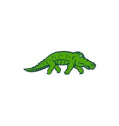 Anxious alligator tiptoing retro vector