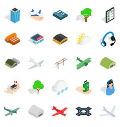 Arrival icons set isometric style vector