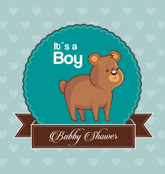 Baby shower card invitation its a boy with cute vector