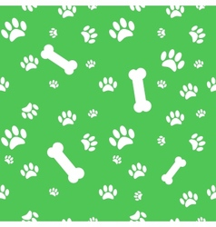 Background with dog paw print and bone vector image