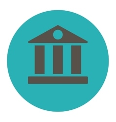 Bank flat grey and cyan colors round button vector