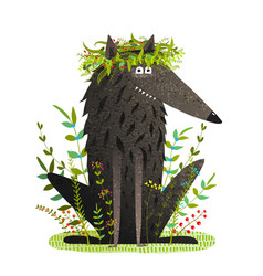 black friendly cute wolf smiling in grass vector image vector image