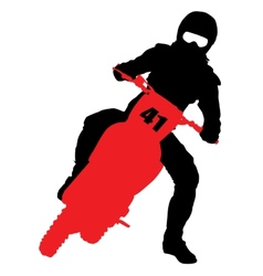 Black silhouettes motocross rider on a motorcycle vector
