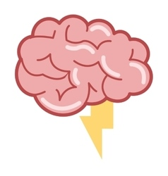 Brain with lightning ray icon vector