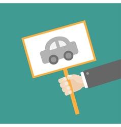 Businessman hand holding car card flat vector