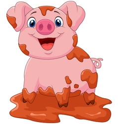 Cartoon cute baby pig vector