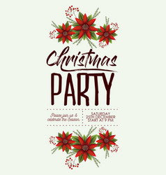 christmas party card with colorful poinsettia vector image vector image