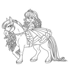 cute little princess riding on a white horse vector image vector image