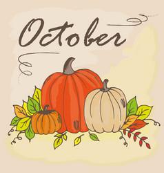 doodle oct pumpkin vector image vector image