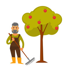 Elderly man with rake stands beside apple tree vector