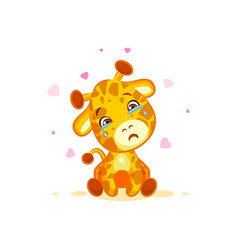 Emoji crying tears character cartoon giraffe miss vector