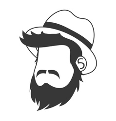 faceless man head with facial hair and hat icon vector image vector image