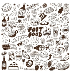 Fast food - doodles set vector