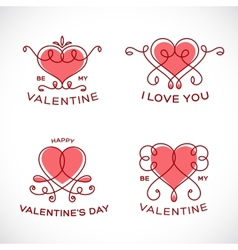 Graceful Floral Valentine Line Style Heart Set vector image vector image