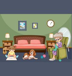 Grandmother with kid and dog in room vector